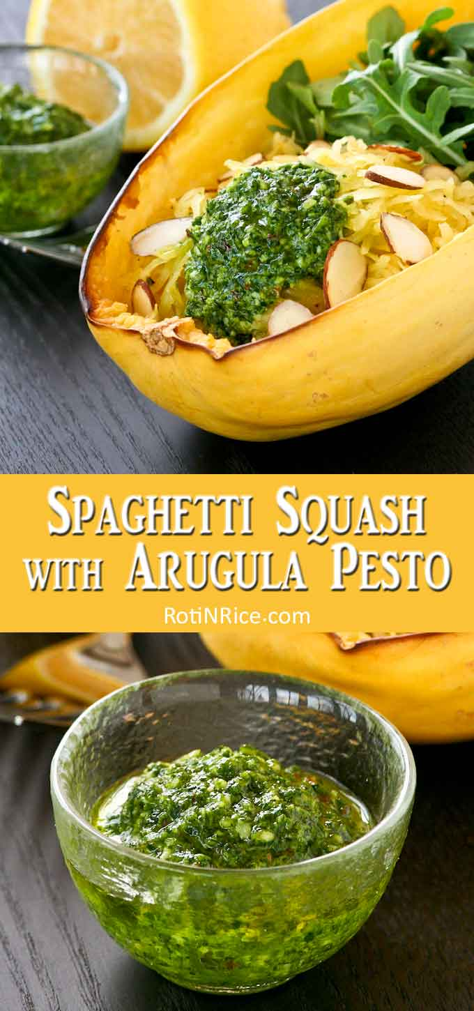 Delicious spaghetti squash salad with a side of pesto.