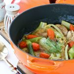 This fast cooking Chicken and Fennel Stew is a one-pot wonder complete with protein and vegetables. Carrots and fennel lend a delicious sweetness to the stew.| RotiNRice.com