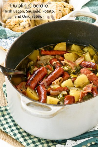Comforting Dublin Coddle with bacon, sausage, potato, and onion.