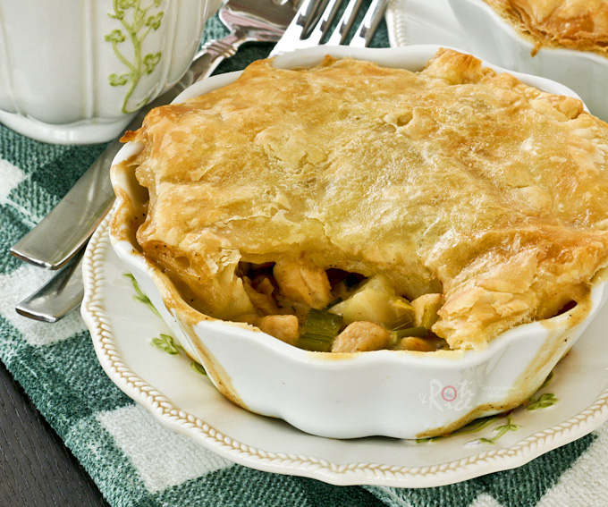 Easy To Prepare Potato Leek And Chicken Pot Pie Topped With Crispy Puff Pastry