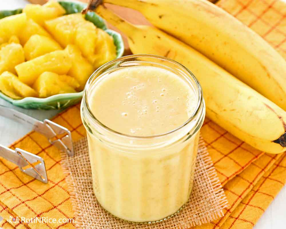 Pineapple Banana Smoothie with refreshing tanginess.