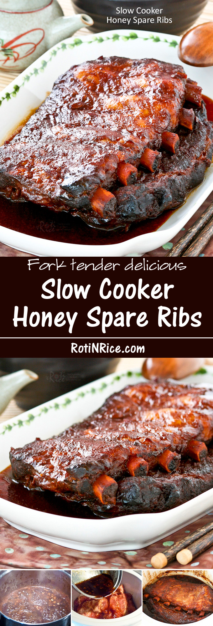 Treat your family to this Slow Cooker Honey Spare Ribs. It is juicy, flavorful, and fork tender delicious. They will thank you for it. | RotiNRice.com