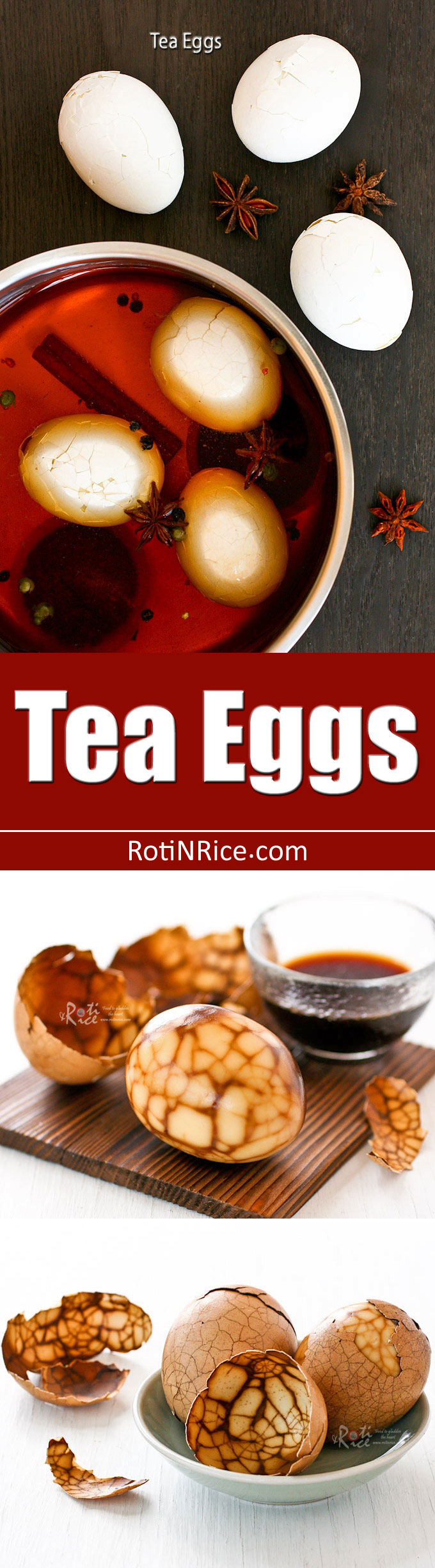 Make your own marbled Tea Eggs subtly infused with an aromatic tea and spice blend. They are not only tasty but pretty as well! | RotiNRice.com