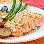 Crushed rice cereals make this Crusted Baked Salmon gluten free. Deliciously moist and flavorful served with roasted potatoes. Only 30 minutes to prepare. | RotiNRice.com