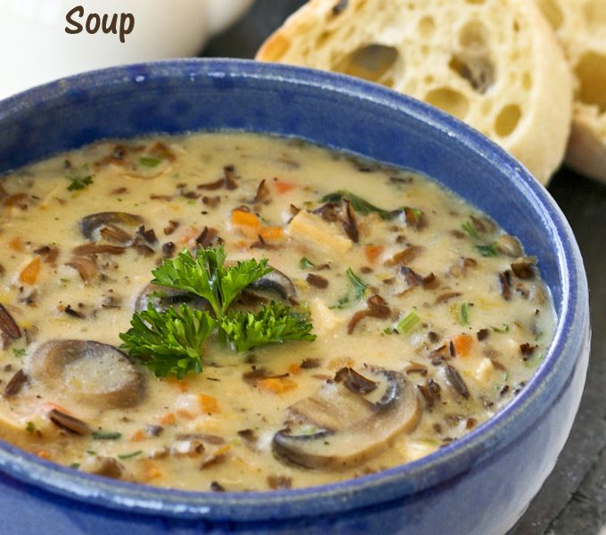 Chicken Wild Rice Soup served with crusty bread.