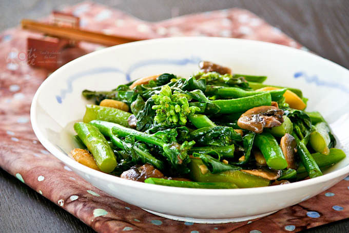 Tender crisp and delicious Stir Fry Gai Lan (Chinese Broccoli).