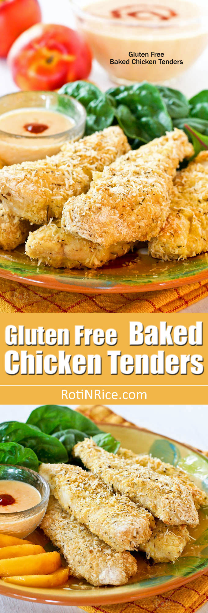These Gluten Free Baked Chicken Tenders have a crunchy rice krispies and parmesan crust. They are delicious served with a Spicy Nectarine Yogurt Dip. | RotiNRice.com