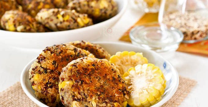 Tasty and fragrant Spiced Quinoa Corn Patties flavored with garam masala. Great as an appetizer, snack or side dish. Also works beautifully in the lunchbox.   RotiNRice.com