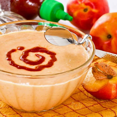 Light and fruity Spicy Nectarine Yogurt Dip spiked with Sriracha sauce. Delicious served with grilled meats, veggies, and chips.   RotiNRice.com