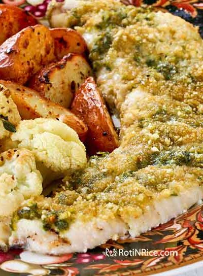 Delicious Pistachio Pesto Crusted Whitefish made with fresh water whitefish from Lake Superior. It has a fine but firm texture and a buttery flavor. | RotiNRice.com #bakedfish #whitefish #fishrecipes