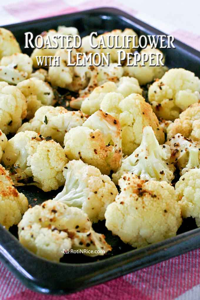 Freshly Roasted Cauliflower in baking tray.