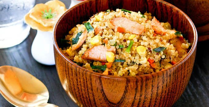 "Stir Fried Salmon Quinoa, a deliciously nutty fried ""rice"" made with quinoa instead of rice and leftover grilled salmon, carrots, chives, and corn. 