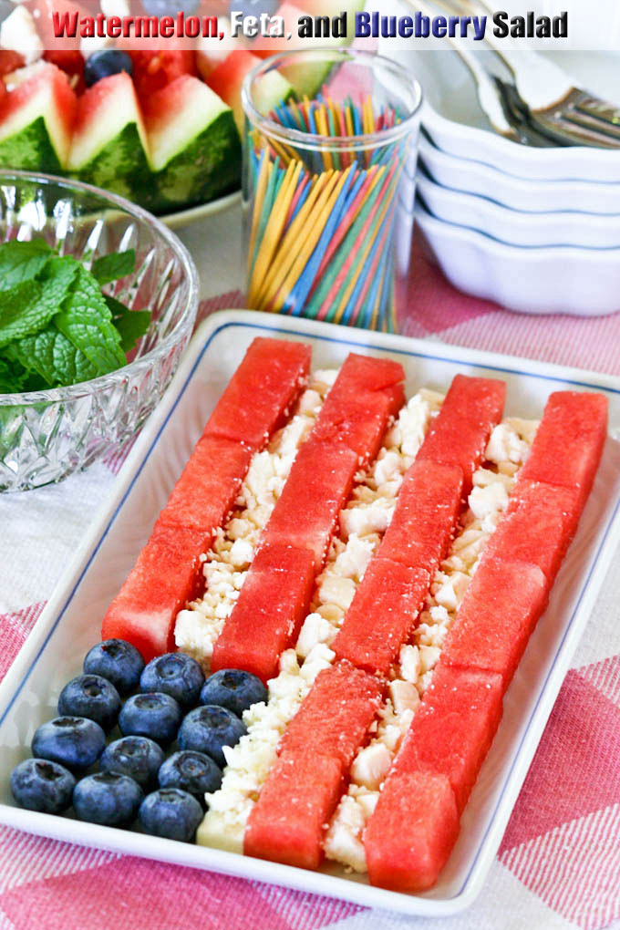 Watermelon, Feta, and Blueberry Salad - a delightful summer salad with a simple vinaigrette perfect for all your patriotic themed parties. | RotiNRice.com