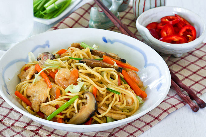 Pancit Canton is a popular dish in the Philippines made of wheat noodles stir fried with chicken, pork, shrimps, and a medley of vegetables. | RotiNRice.com