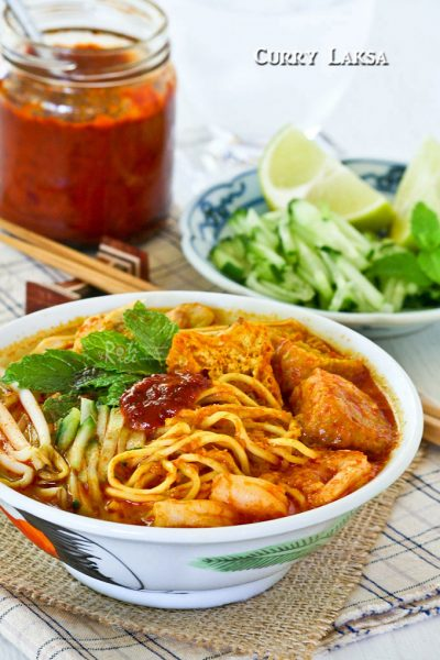 Curry Laksa with a variety of toppings.