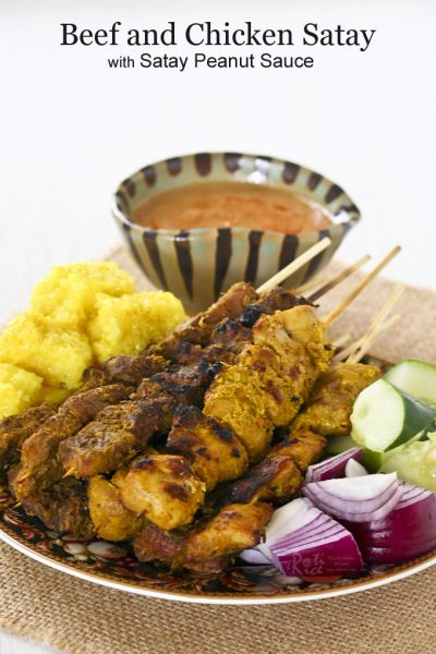 Perfectly grilled Beef and Chicken Satay served with Satay Peanut Sauce.