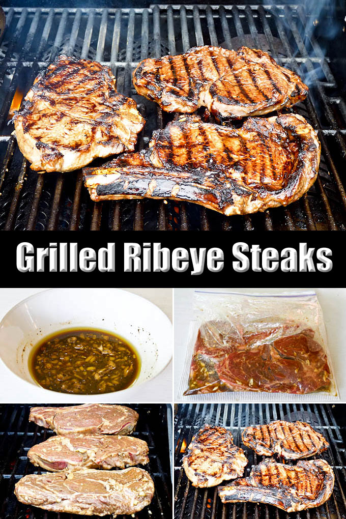 Tender And Flavorful Grilled Ribeye Steaks In Homemade Marinade With Red Wine Worcestershire Sauce
