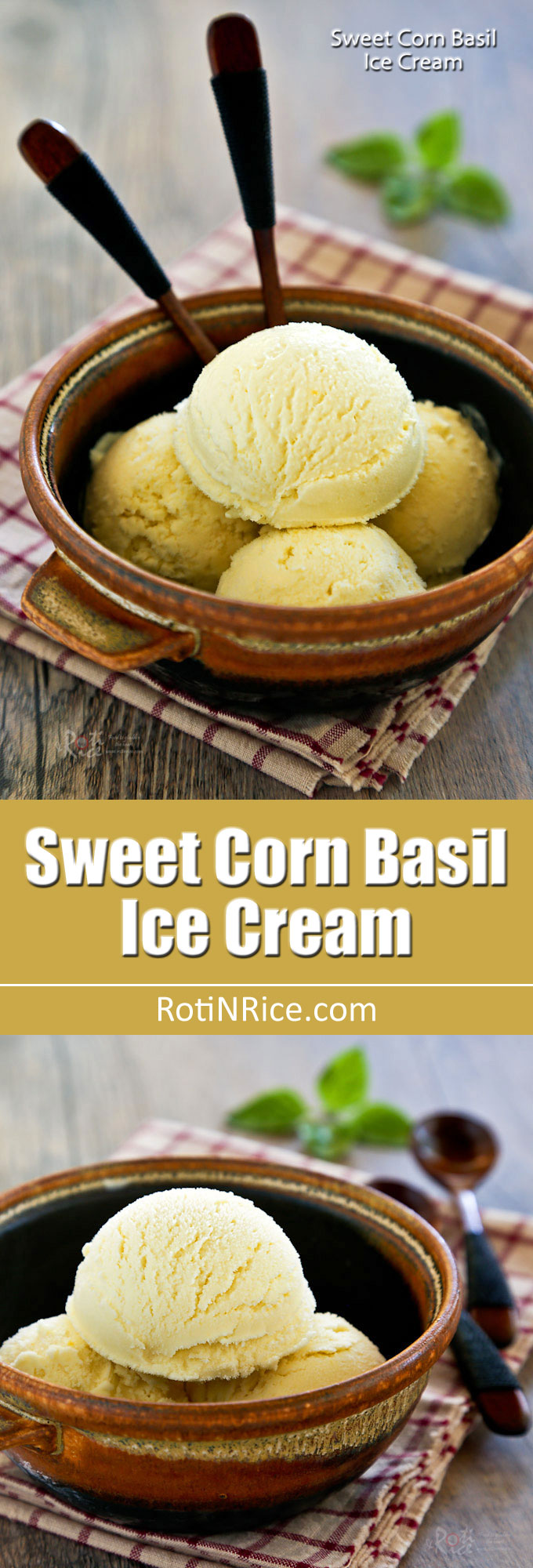 This fragrant Sweet Corn Basil Ice Cream is a delicious treat any time of the year. It is fully infused with fresh corn and a slightly spicy basil flavor.   RotiNRice.com