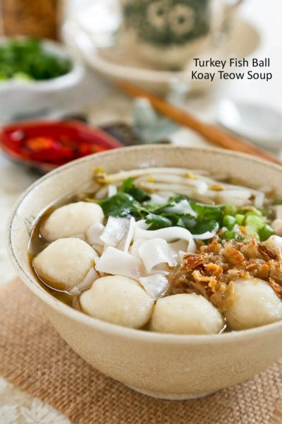 Delicious Turkey Fish Ball Koay Teow Soup made with leftover Thanksgiving roast turkey.