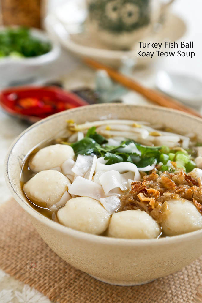 Not sure what to do with leftover Thanksgiving turkey? Make this tasty Turkey Fish Ball Koay Teow Soup based on the popular Malaysian rice noodle soup. | RotiNRice.com