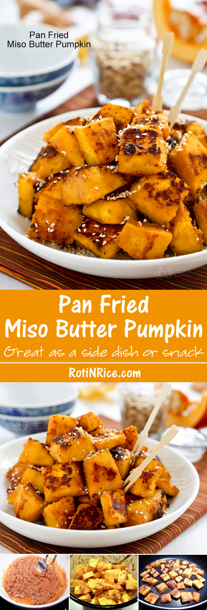 Fragrantly delicious and addicting Pan Fried Miso Butter Pumpkin sprinkled with toasted sesame seeds. Great as a snack or side dish. | RotiNRice.com