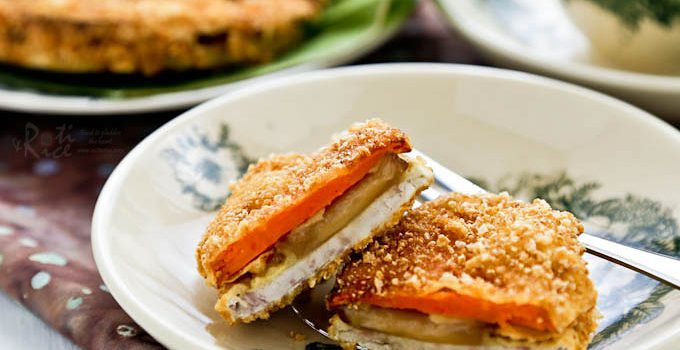 Yam Nian Gao Fritters - a Chinese New Year crispy treat of new year cake sandwiched between slices of taro (a.k.a yam) and sweet potatoes dipped in batter. | RotiNRice.com #niangao #tikoy #yamfritters #niangaofritters #chinesenewyear #lunarnewyear