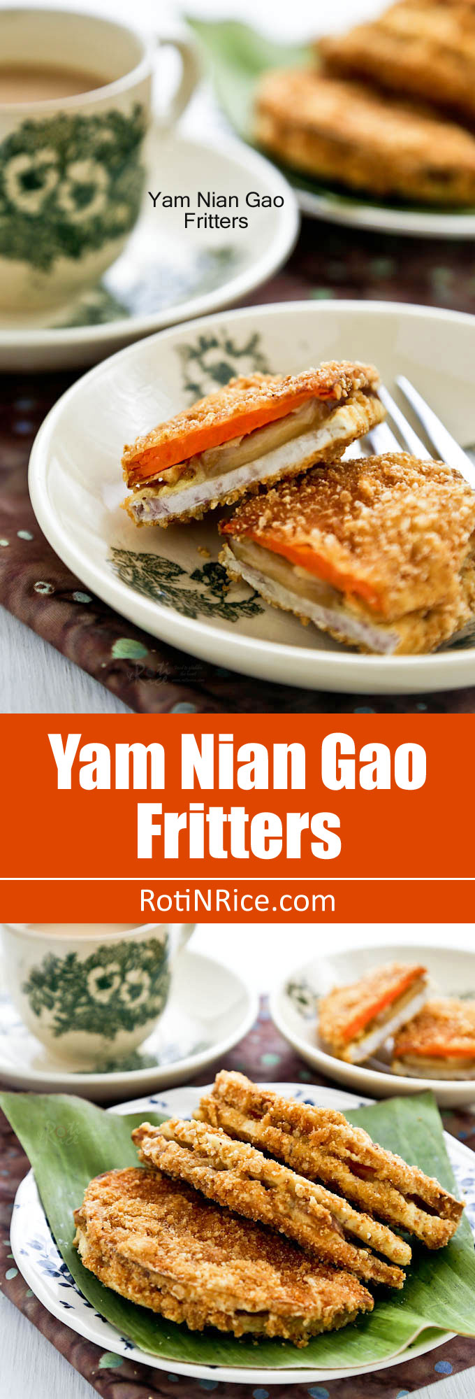 Yam Nian Gao Fritters - a Chinese New Year crispy treat of  new year cake sandwiched between slices of taro (a.k.a yam) and sweet potatoes dipped in batter. | RotiNRice.com