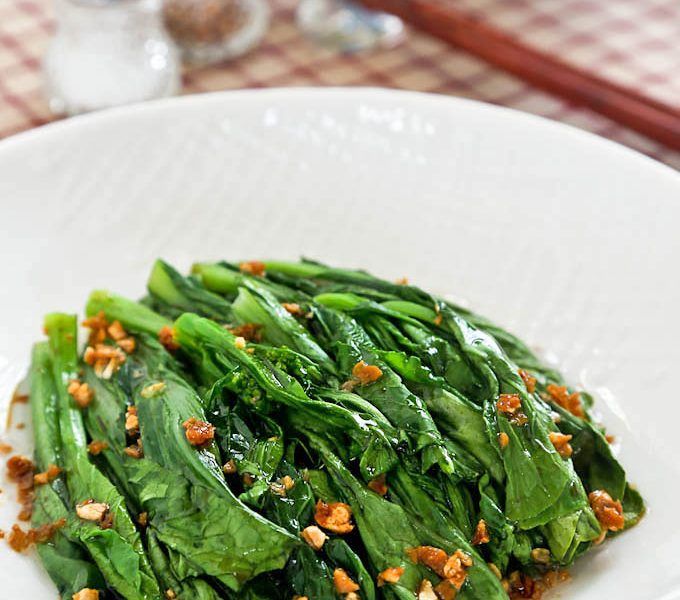 Yu Choy Sum in a simple garlic oil and soy sauce dressing.