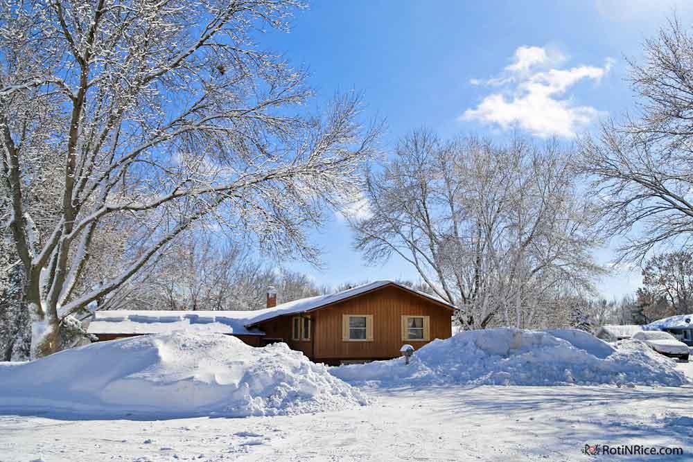 The snow piles in the cul-de-sac.