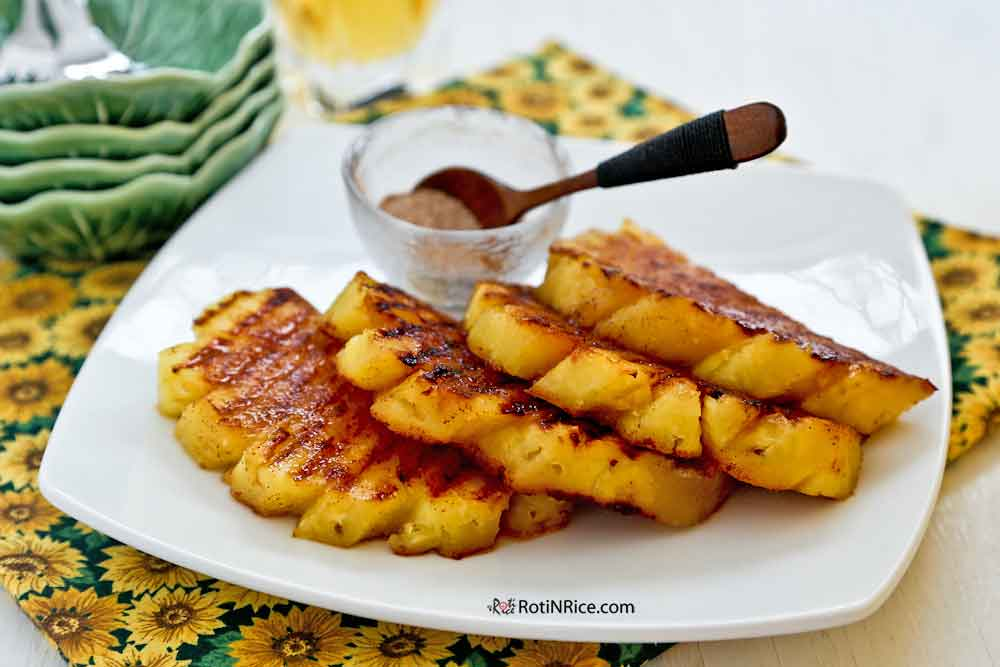Grilled Pineapple, a delicious accompaniment to grilled and roasted meats.