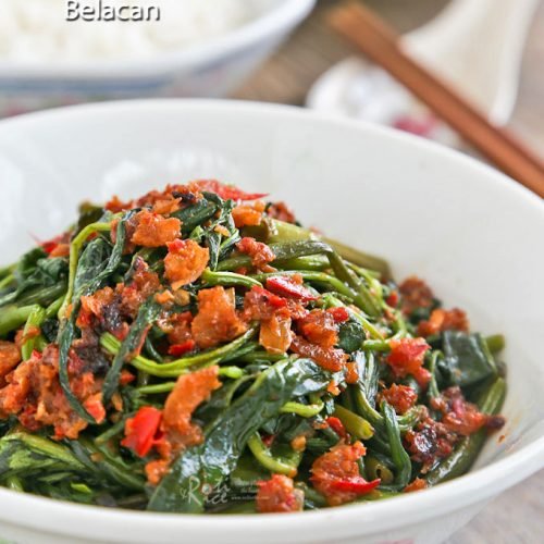 Kangkung Belacan served with rice.