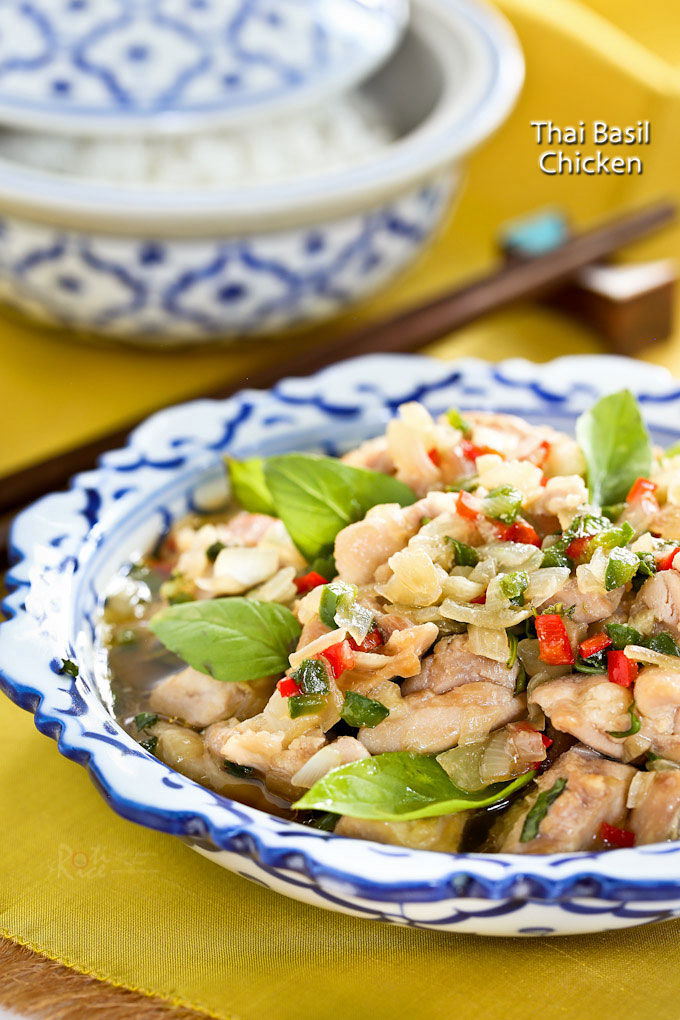 This stir fry Thai Basil Chicken is delicious served with steamed jasmine rice. It takes only minutes to prepare and the heat level can be easily adjusted. | RotiNRice.com
