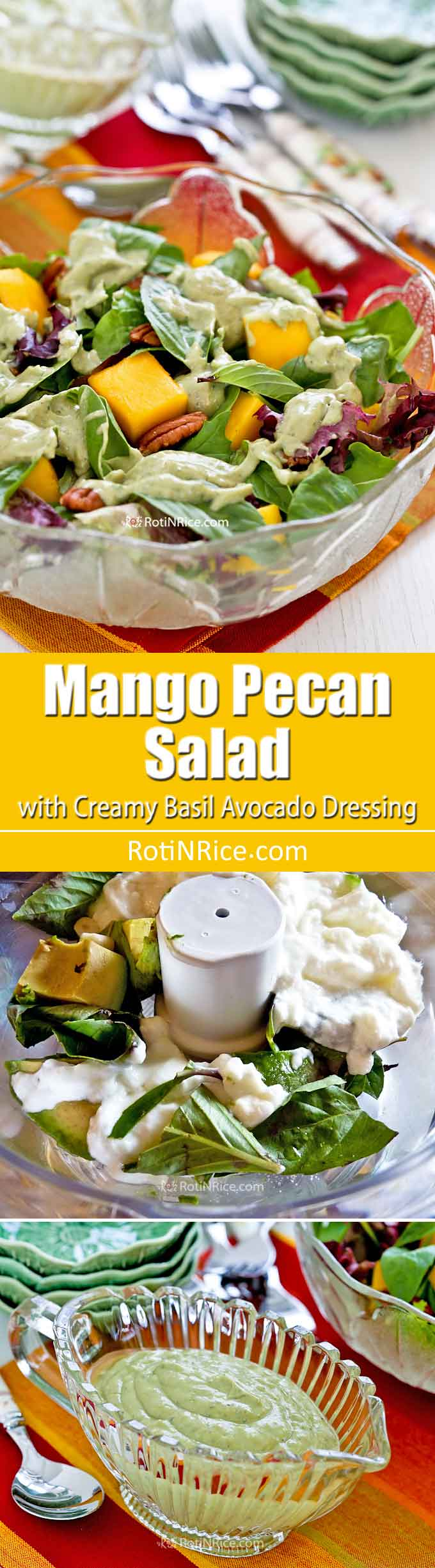 Tickle your taste buds with this Mango Pecan Salad with Creamy Basil Avocado Dressing. It is sweet, tangy, and refreshing with a delightful crunch. | RotiNRice.com