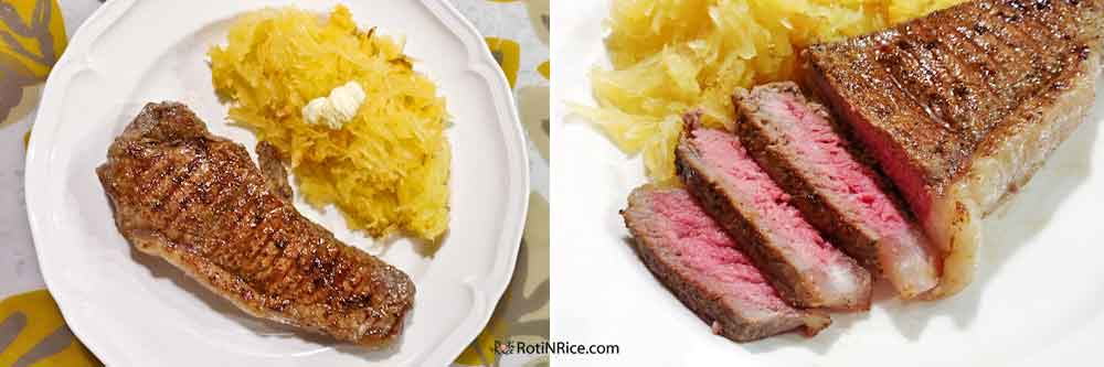 Grilled New York Strip Steaks prepared indoors on the stove and completed in the oven.