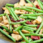 Less than 30 minutes Chicken and Green Beans Stir Fry with dried chilies for heat. Quick, easy, and tasty. Can't get better than that! | RotiNRice.com #chickenstirfry #greenbeansstirfry #stirfry
