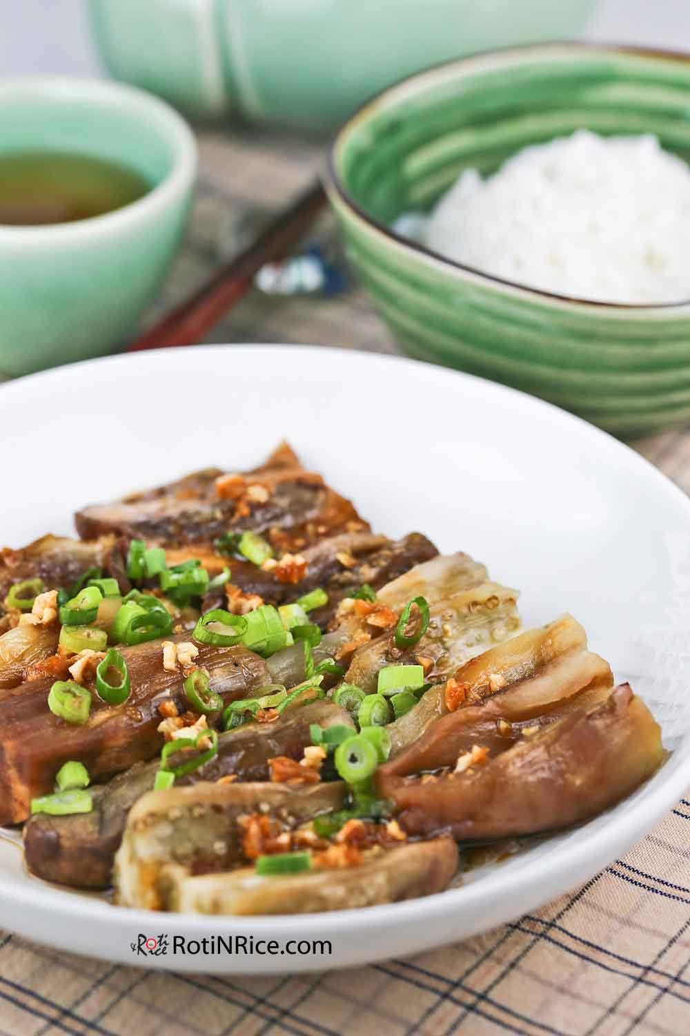 Deliciously smoky Roasted Eggplant with Garlic Soy Dressing