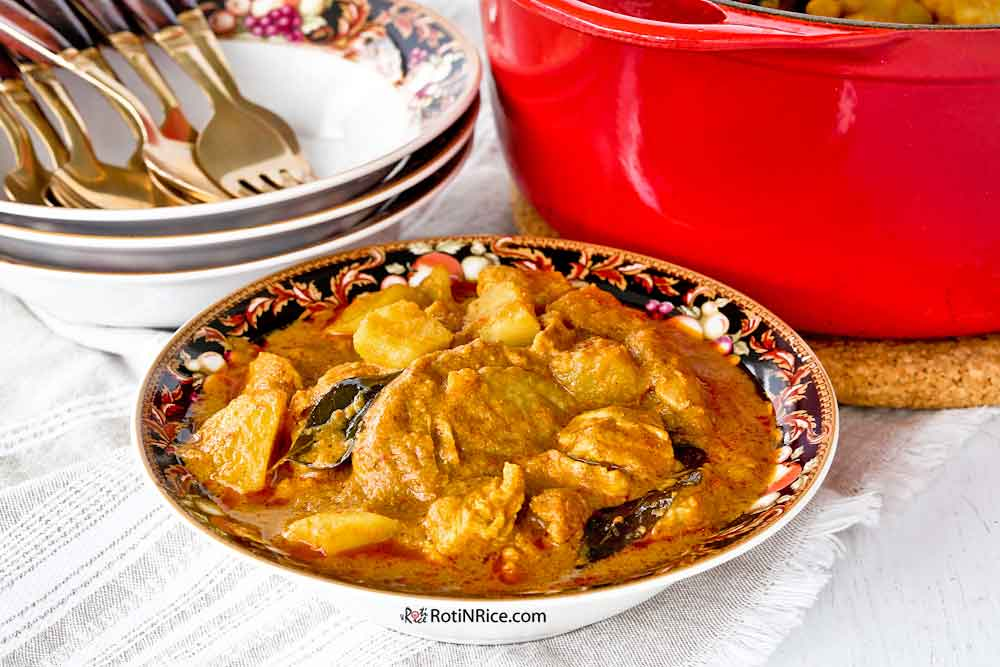 Fiery Chicken Curry made using bone-in chicken thighs and breast meat.