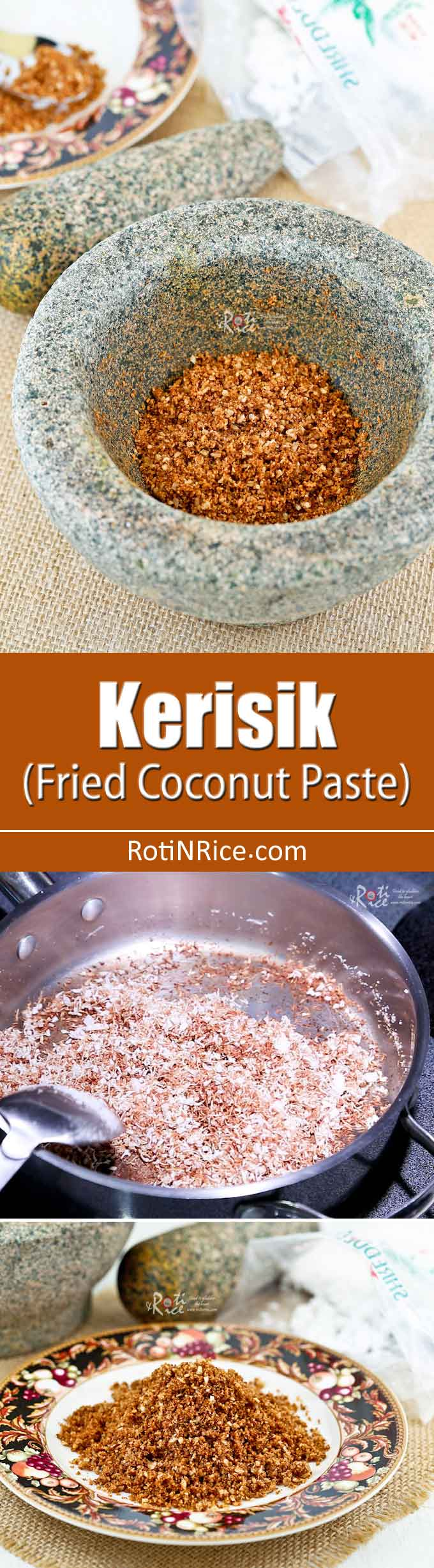 Learn how to make Kerisik (Fried Coconut Paste) in this video tutorial. It helps thicken sauces and provides flavor and texture to a dish. | RotiNRice.com