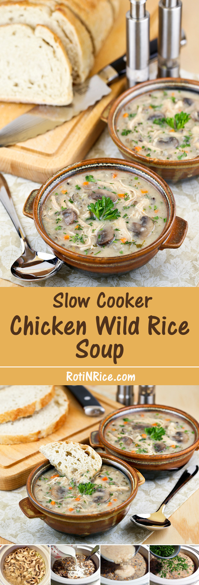 Few things are more comforting than coming home to this easy and deliciously creamy Slow Cooker Chicken Wild Rice Soup. It's a Minnesotan favorite! | Food to gladden the heart at RotiNRice.com