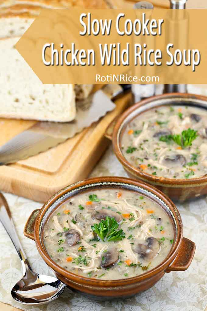 Warm and comforting Slow Cooker Chicken Wild Rice Soup