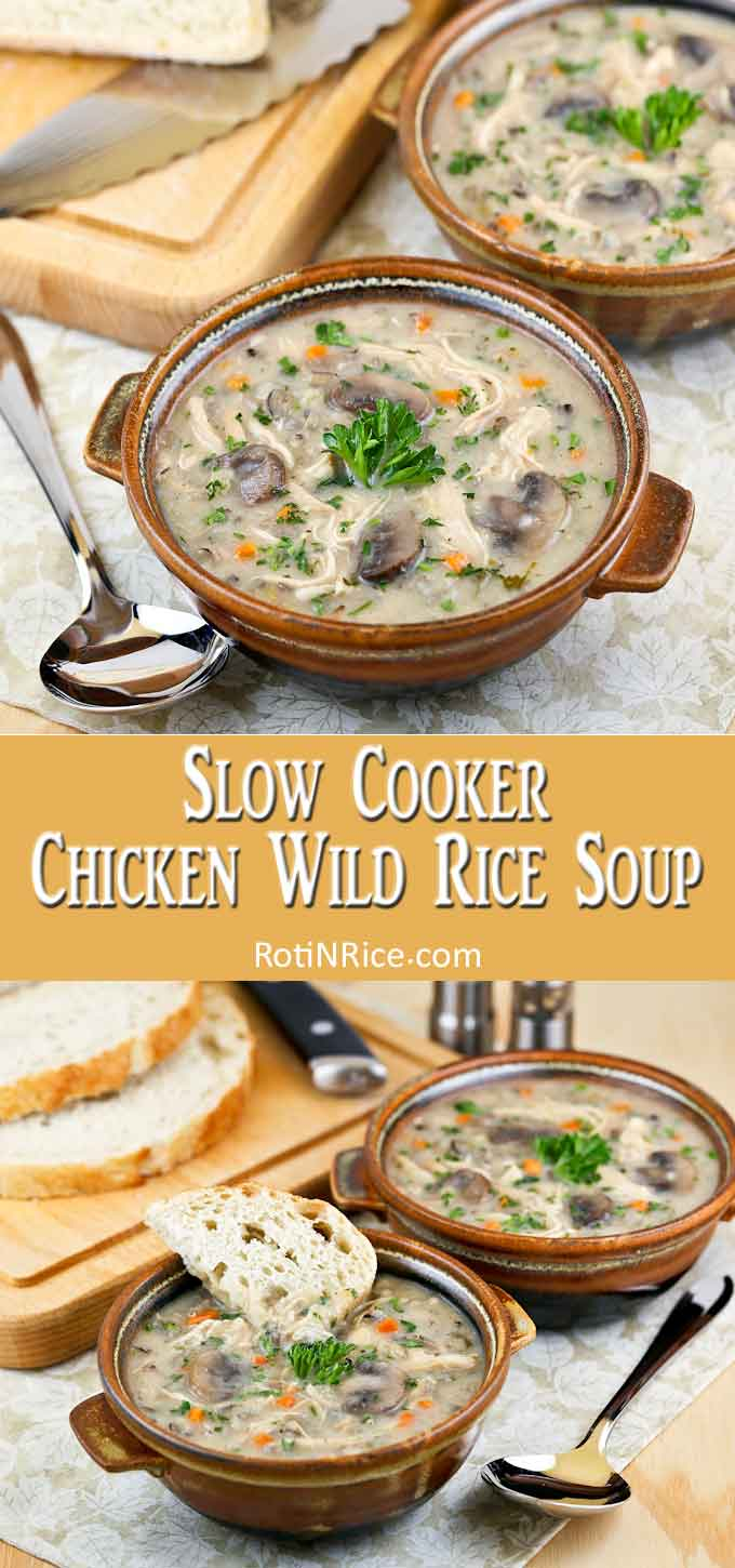 Slow Cooker Chicken Wild Rice Soup served with crusty bread.