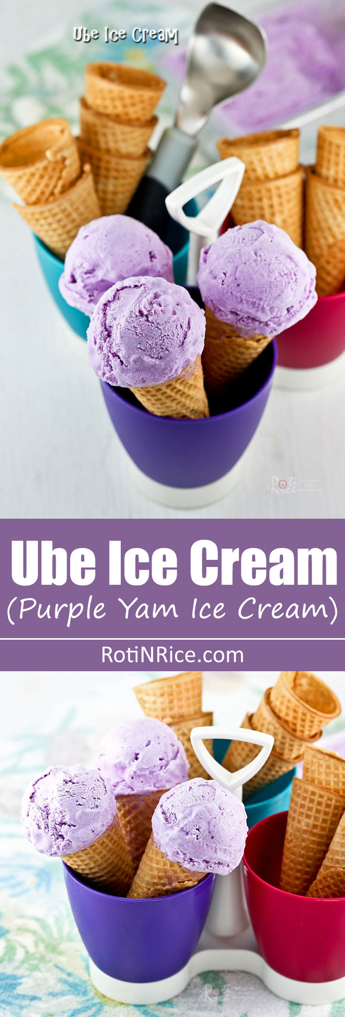 This delicious Ube Ice Cream is smooth and creamy with an almost floral hint. Make it at home using frozen grated purple yam. You will totally love it! | RotiNRice.com