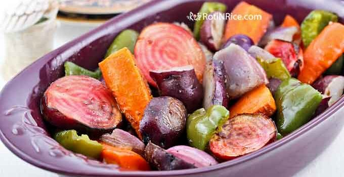 Nothing beats Roasted Vegetables with Honey Balsamic Vinaigrette freshly harvested from the garden. They are sweet, tender, and makes a wonderful side dish. | RotiNRice.com #roastedvegetables #honey #balsamicvinegar #saladdressing