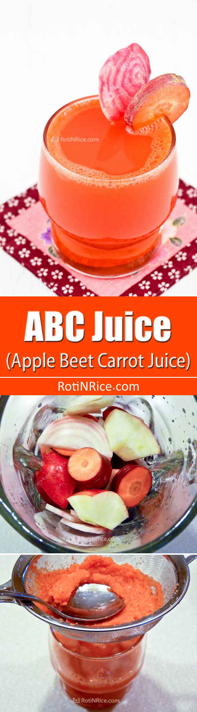 You can make this healthy delicious ABC Juice (Apple Beet Carrot Juice) with a hint of tanginess from lemon juice using a blender. It takes only 10 minutes. | RotiNRice.com