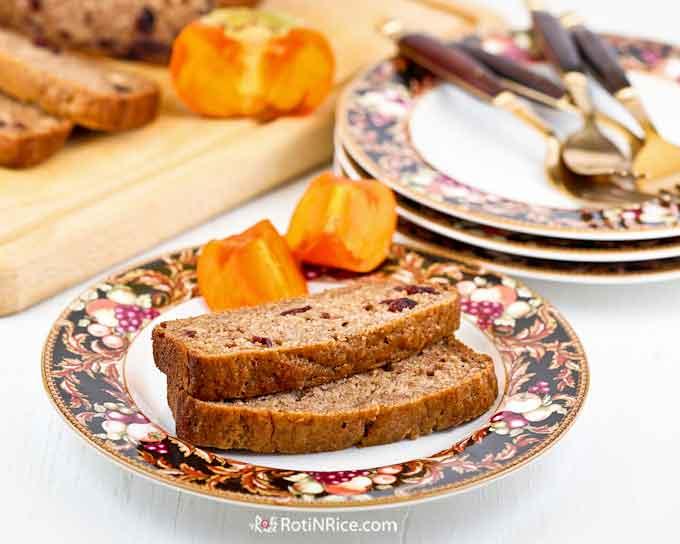 Warmly spiced brown sugar Persimmon Cranberry Bread