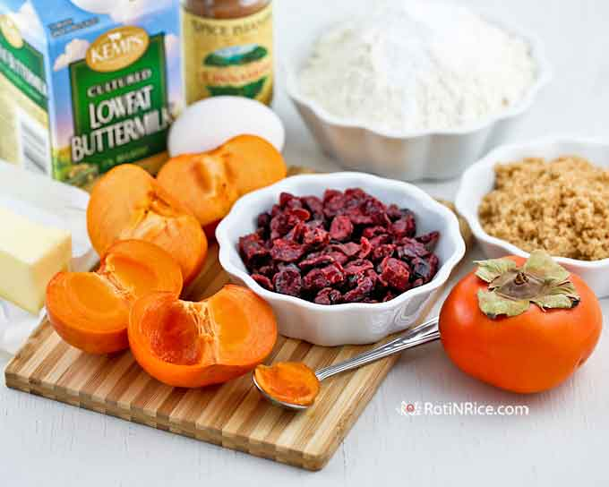 Ingredients for Persimmon Cranberry Bread
