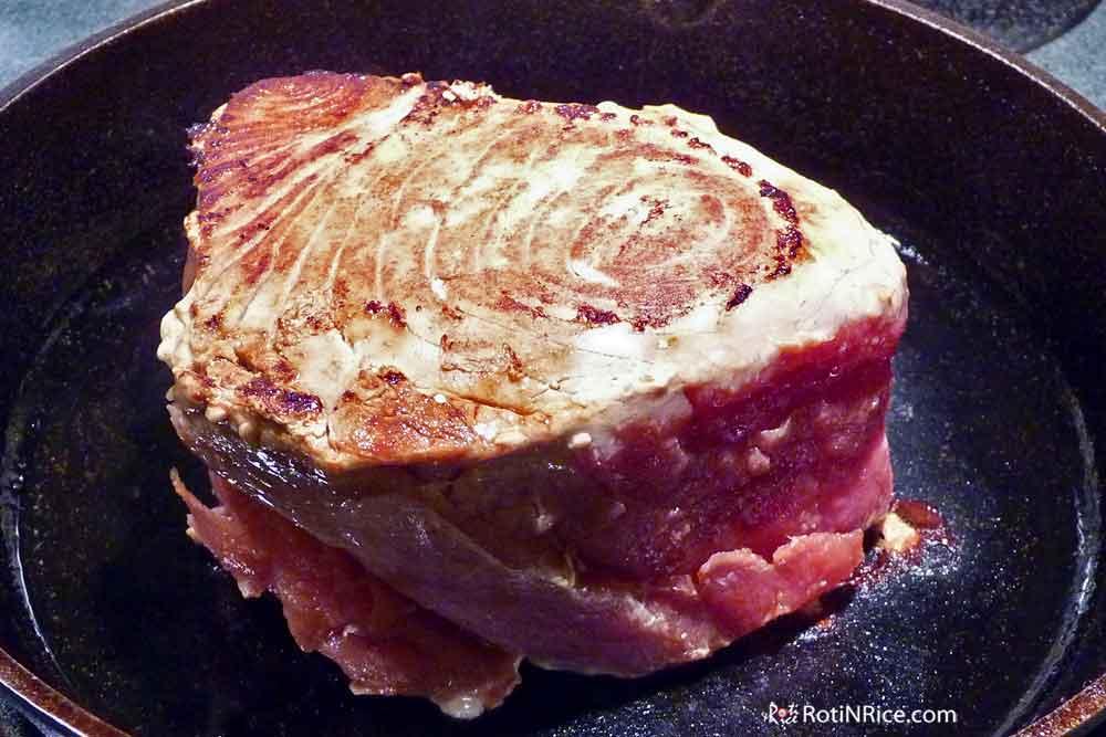 Seared Tuna in the pan.
