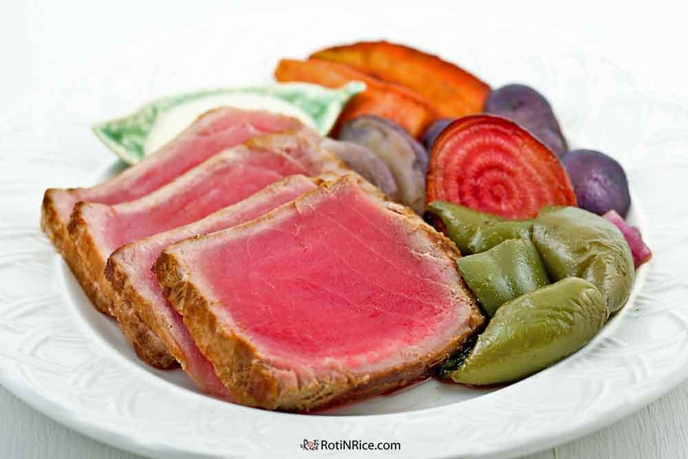 Seared Tuna with Wasabi Mayo Sauce.