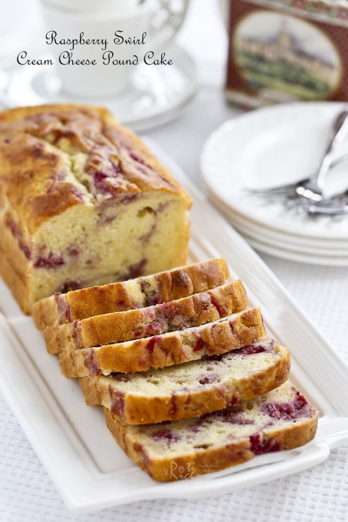 Thickly sliced Raspberry Swirl Cream Cheese Pound Cake.