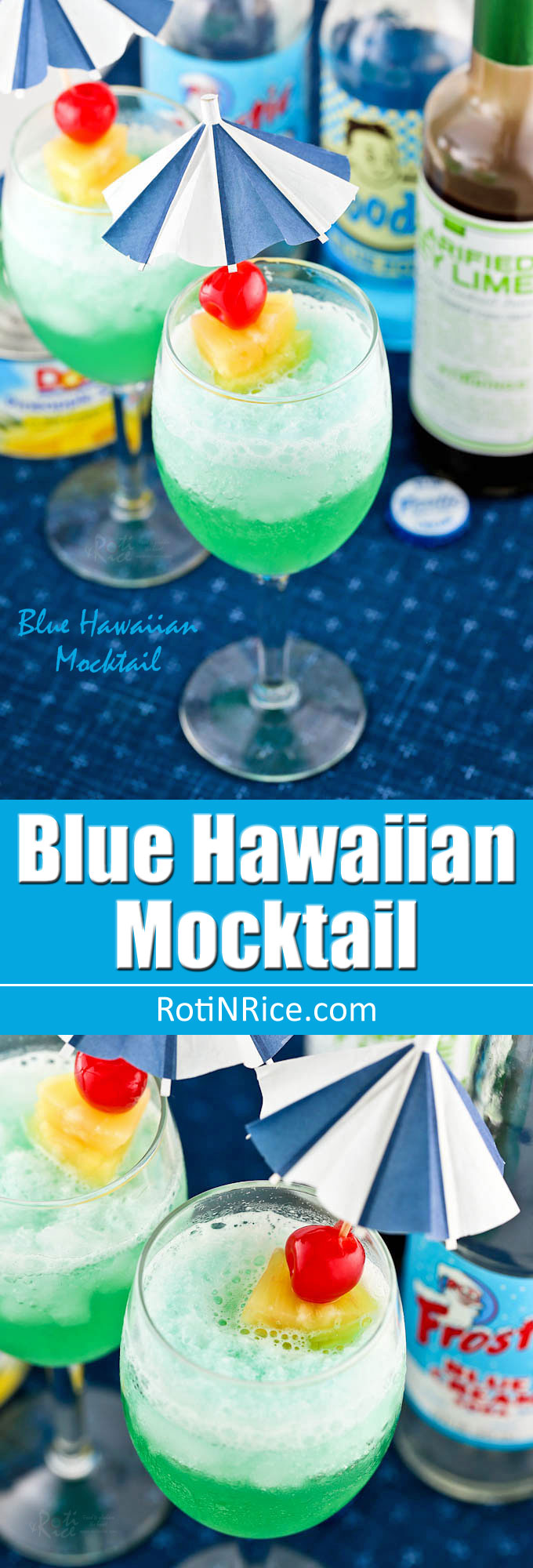 This cool Blue Hawaiian Mocktail is a fun drink to prepare for any occasion. Only 3 ingredients and some crushed ice are needed. | RotiNRice.com